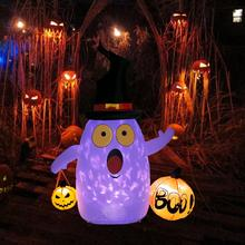 цена OurWarm Halloween Party LED Light Inflatable Ghost Pumpkin Stand Outdoor Horror Props Halloween Event Party Decorations 142x87cm