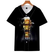 Пиво личность холодное пиво цифровой 3D печать летнее платье из тонкой ткани для мальчиков, с коротким рукавом, бейсбольная форма