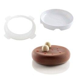 1 conjunto redondo eclipse molde do bolo de silicone para mousses sorvete chiffon bolos cozimento pan decoração acessórios ferramentas bakeware