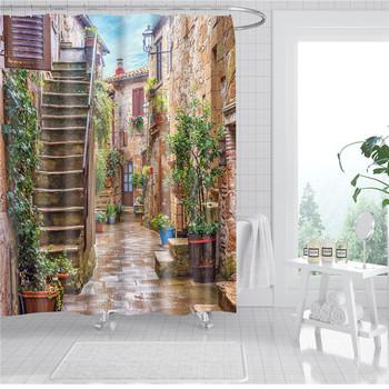 Ogród kwiaty krajobraz zasłony prysznicowe dekoracja wodoodporna tkanina zasłona wanny drzwi do łazienki ekrany tanie i dobre opinie shower curtain Nowoczesne Ekologiczne Scenic Poliester