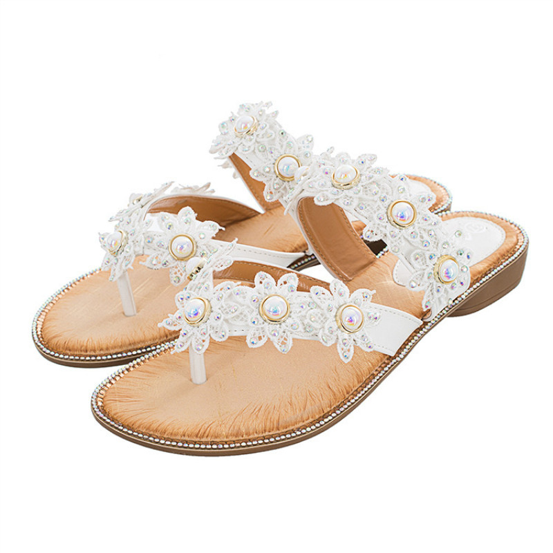 Fashion Women's Sandals with Pearl Flowers Low Heels Wedges Women Shoes Woman Leisure Soft Comfort Ladies Sandalias Feminina