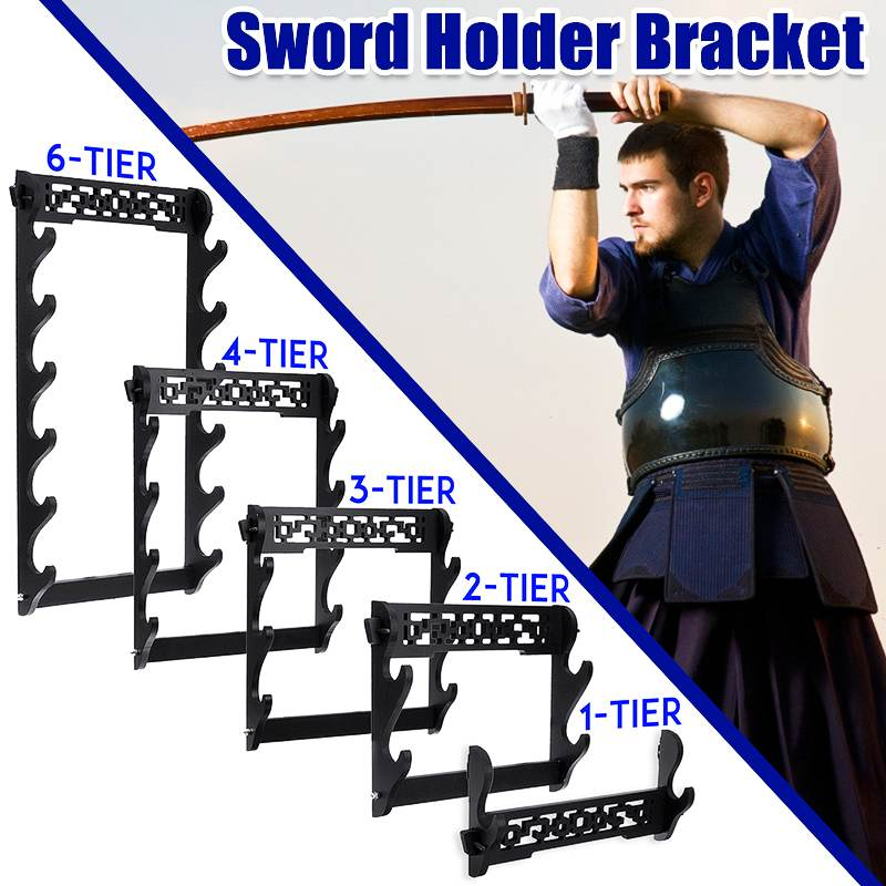 1 Pcs Wall Hanging Decor Samurai Sword Holder Katana Holder Stand Hanger Bracket Rack Home Decoration Wall Display 1/2/3/4/6Tier