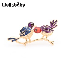 Wuli&baby Blue Red Couple Birds Brooches Women Alloy Animal Weddings Brooch Pins Gifts