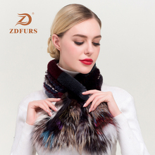 ZDFURS* New 2019 Winter Genuine Real Rex Rabbit Fur scarf Womens Fashion Scarves Silver Fox Knitted Wraps Multicolor