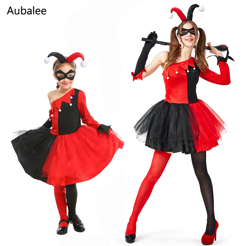 Harley Quinn Clown Joker Cosplay Costume Kids Girls Women Harley Queen Fancy Dress Suicide Squad Halloween Carnival Costumes