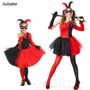 Harley Quinn Clown Joker Cosplay Costume Kids Girls Women Harley Queen Fancy Dress Suicide Squad Halloween Carnival Costumes(China)