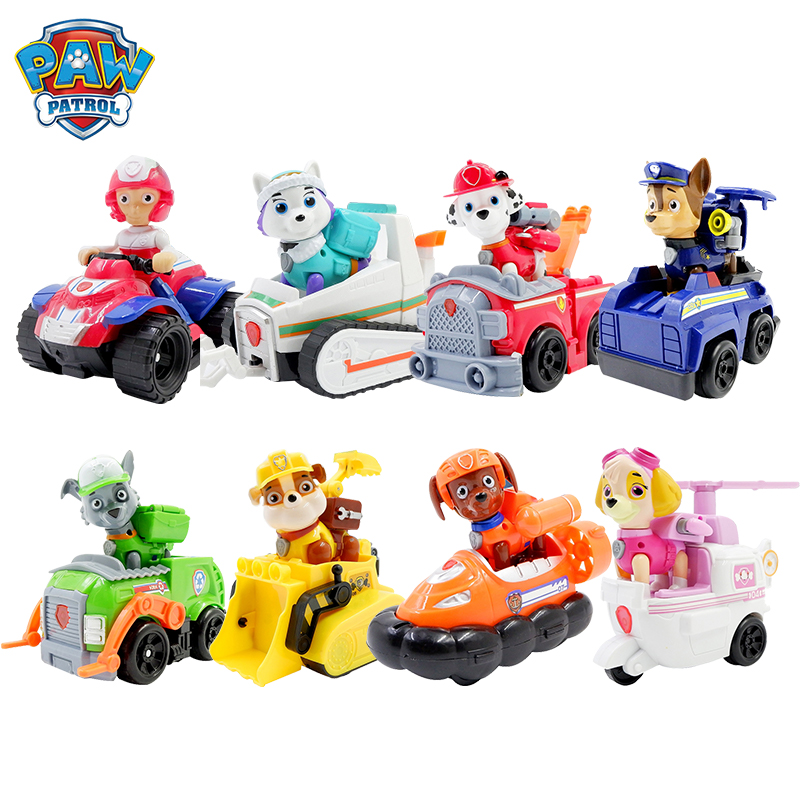 Paw Patrol Rescue Dog Everest Chase Ryder Rescue Cars Pull Back Music Patrol Ski Vehicle Anime Figure Action Model Kid Toy Gift