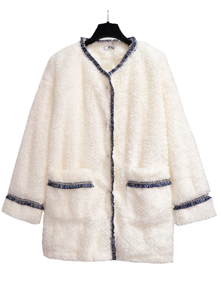 Wool Coat 6XL Jacket Lamb Winter Womens Plus-Size New-Fashion Warm Small Thin Tops Fragrance