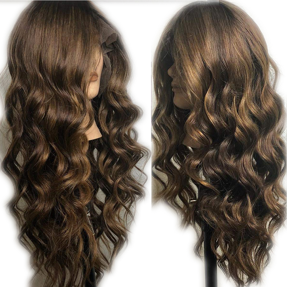 Eversilky Brown Highlights Wig Chocolate Color 13x6 Lace Frontal Human Hair Wigs Body Wave Peruvian Remy Transparente Lace Front