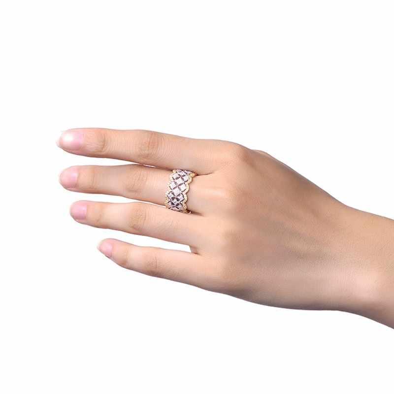18K רוז זהב פייב יהלומי טבעת אמיתי 925 כסף סטרלינג קומפקטי אירוסין נישואים טבעות לנשים כלה המפלגה תכשיטי מתנה
