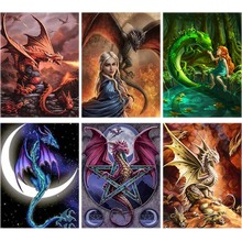 Landscape Diamond Painting Dragon Fire Full Square 5d Diy Embroidery Girl Cross-stitch Home Decor Art kids Gift A100