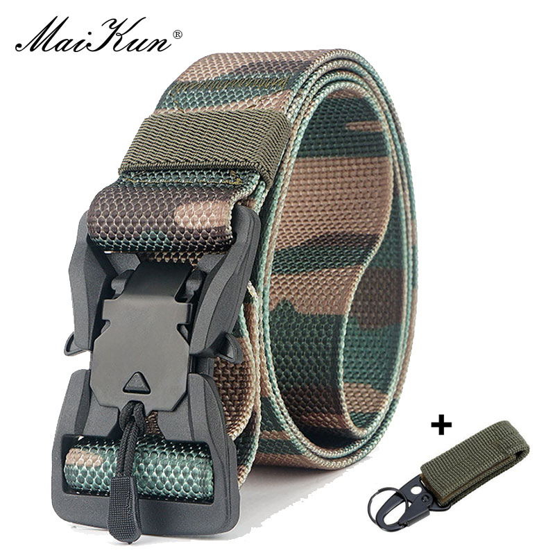 Maikun Nylon Belts For Men MetalBuckle Outdoor Hunting Waistband Military Equipment Tactical Canvas Belt Camo
