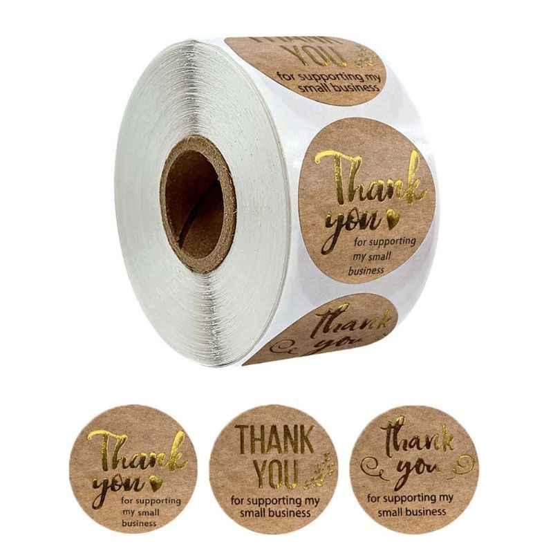 500 stücke Natürliches Kraftpapier Runde Danke Aufkleber Lebensmittel