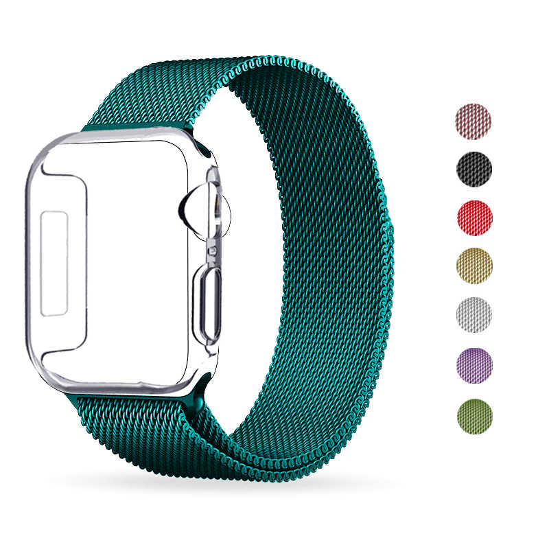 Milanese Loop Tali untuk Apple Watch Band Series 1/2/3 42 Mm 38 Mm Gelang Stainless Steel untuk IWatch Seri 4 40 Mm 44 Mm Watchband