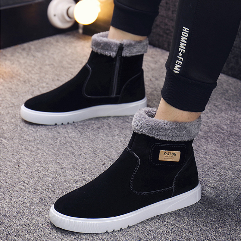 Warm Cotton Boots Plus Size Velvet Autumn Winter Boots Men Zipper Casual Shoes Botas Wild Metal Brand Cotton Shoes Men Boots