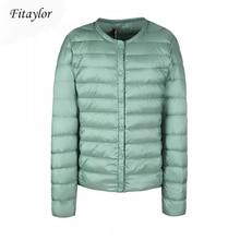 Fitaylor New winter Women Ultra Light White Duck Down Jacket Short Coat Slim Casual Down Coats Female Plus Size S 3xl Warm Parka