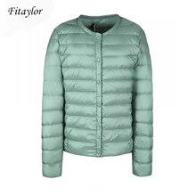 Fitaylor חדש חורף נשים קל במיוחד לבן ברווז למטה מעיל קצר מעיל דק מזדמן למטה מעילי נקבה בתוספת גודל S 3xl חם parka