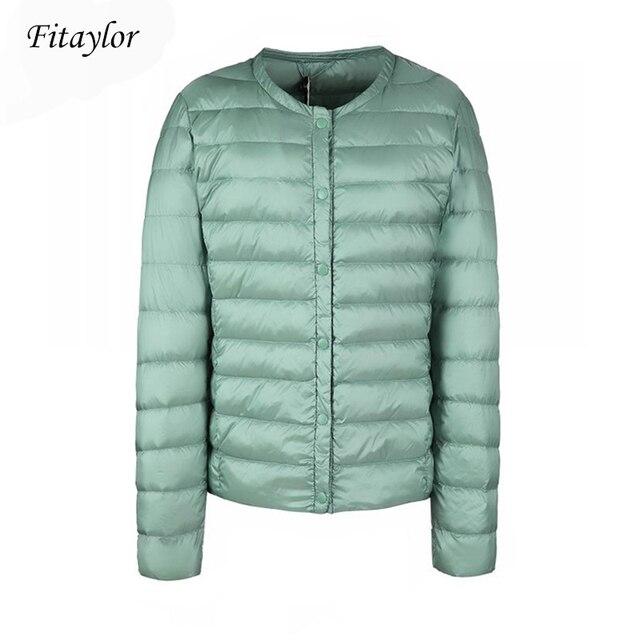 Fitaylor جديد الشتاء النساء الترا ضوء الأبيض بطة أسفل سترة معطف قصير سليم عادية أسفل معاطف الإناث حجم كبير S 3xl سترة دافئة