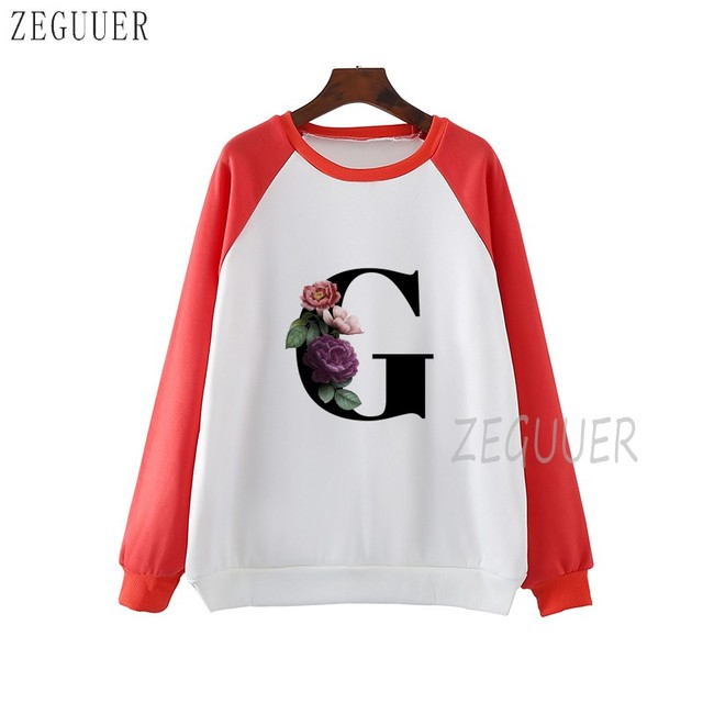 26 English Alphabet Harajuku Sweatshirts Ladies Warm Gothic Streetwear Punk Women Hoody Fashionable Casual Simple Printing