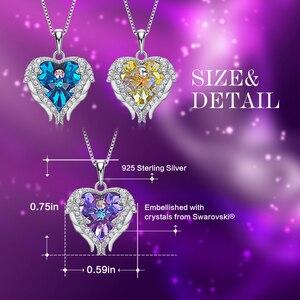 Image 4 - Cdyle collar con colgante de corazón y alas de Ángel para mujer, de Plata de Ley 925 con Cristal púrpura, para fiesta de cumpleaños