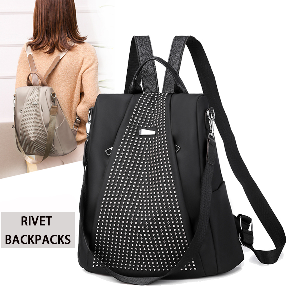 Fabra Middle Size Travel Women Backpacks Oxford Waterproof Backpack 2019 New Shoulder Bags Casual Daypacks Rivet Bagpacks Black
