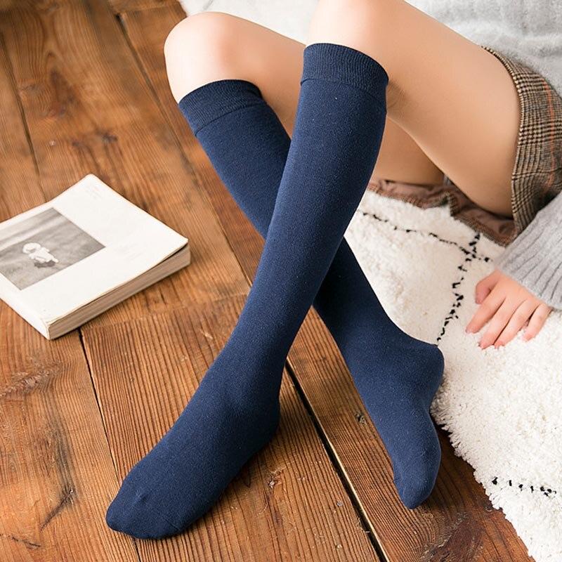 La MaxPa 1 Pair Women's Socks Autumn Winter Fashion Long Socks Preppy Style Knee Socks Solid Color High Elastic Socks K1444