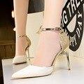 Туфли-лодочки женские на высоком каблуке, пикантные свадебные туфли, каблук-шпилька, украшенный котятами, золотистые, серебристые, весна