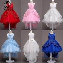 Skyyue/Платья с цветочным узором для девочек 6 цветов, пышные платья в пол с бантом и шлейфом для девочек детские праздничные кружевные платья для девочек, 584