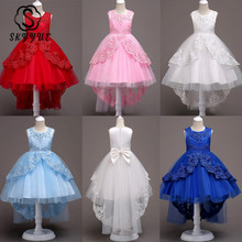 Skyyue Flower Girl Dresses 6 Colors Court Train Bow Floor Length Girls Pageant Kids Party Lace for 584