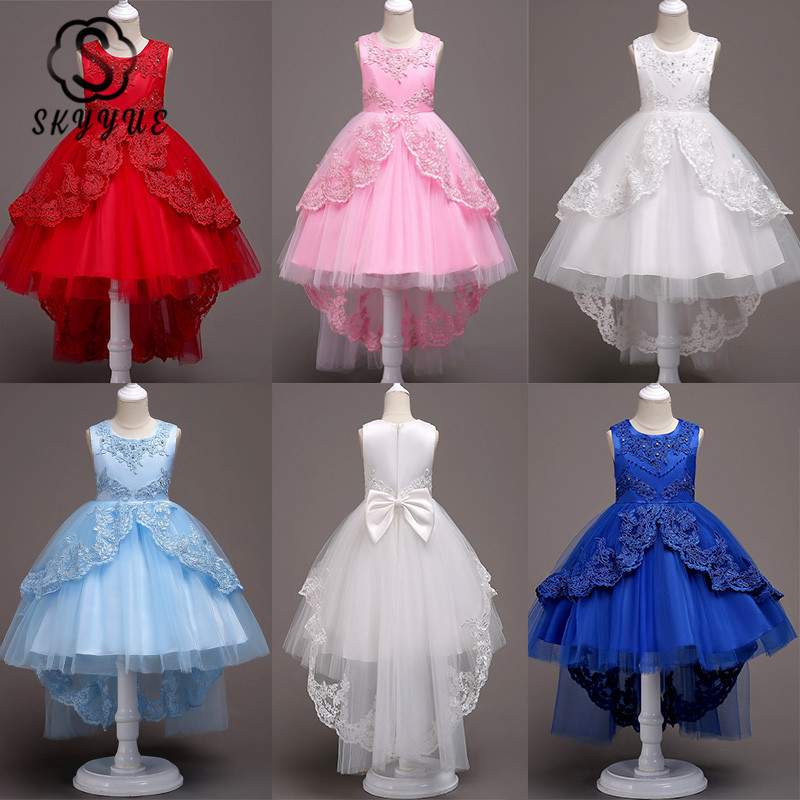 Skyyue   Flower     Girl     Dresses   6 Colors Court Train Bow Floor Length   Girls   Pageant   Dresses   Kids Party Lace   Dresses   for   Girls   584