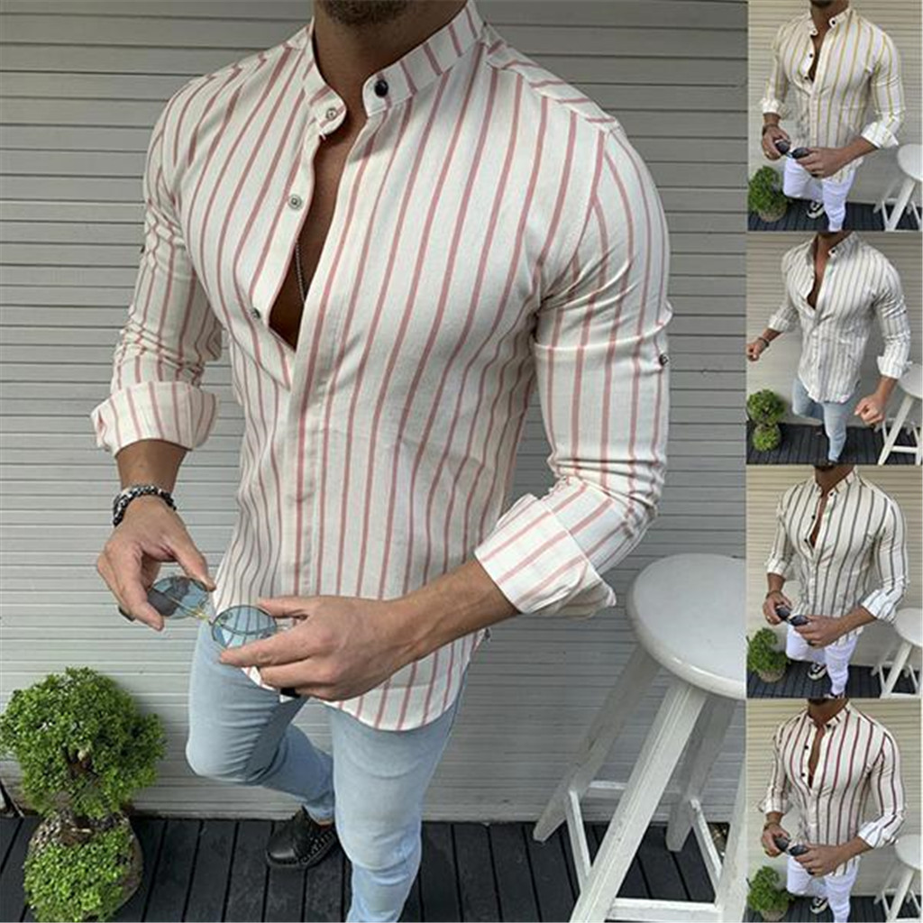 Men New Summer Autumn Fashion Shirts Casual Striped Long-Sleeve Top Blouse Stand Collar Wholesale Free Ship рубашка мужская Z4