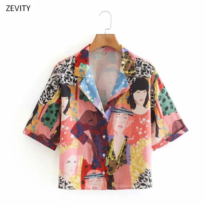 NEW 2020 Women Vintage Colorful Beauty Print Casual Smock Blouse Female Short Sleeve Retro Shirts Chic Kimono Blusas Tops LS6756