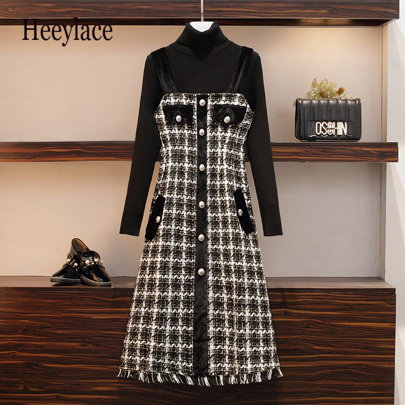 Plus Size Fall Winter Sweater And Spaghetti Tweed Dress Female Long Sleeve Pullover Knit Top And Woolen Dress 2 Piece Sets
