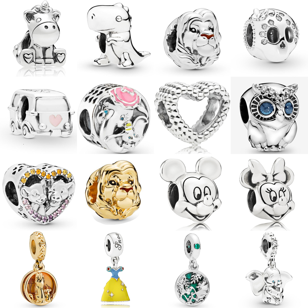 Authentic Summer 925 Sterling Silver Monkey Lion Spotted Princess Wild Stripes Charm Bead Fit Original Pandora Bracelet Jewelry