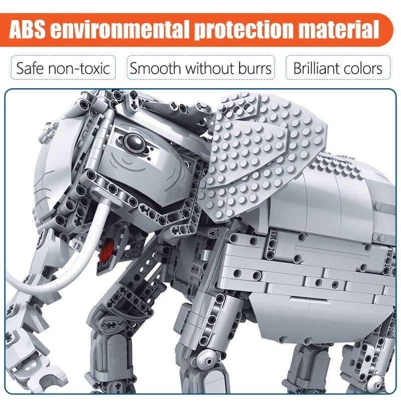 Erbo 1542 Pcs Creative Bouwstenen Fit Lego Technic Rc Afstandsbediening Olifant Dier Elektrische Bricks Speelgoed Voor Kinderen - 3
