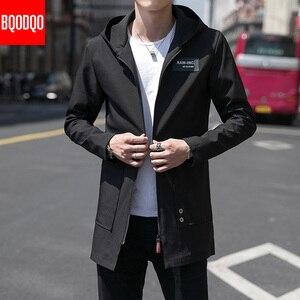 Image 3 - Inverno quente longo trench coat masculino estilo militar com capuz casual blusão preto hip hop streetwear outono jaqueta masculina de grandes dimensões