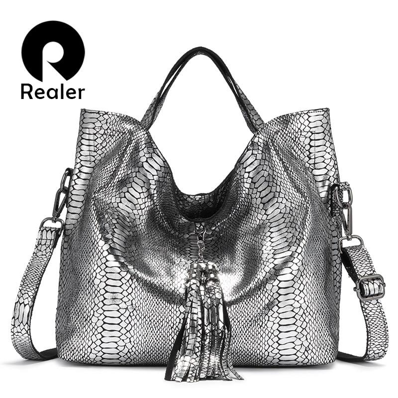 REALER Genuine Leather Women Handbag Large Capacity Tote Bag Female Designer Serpentine Prints Ladies Shoulder Bags With Tassel