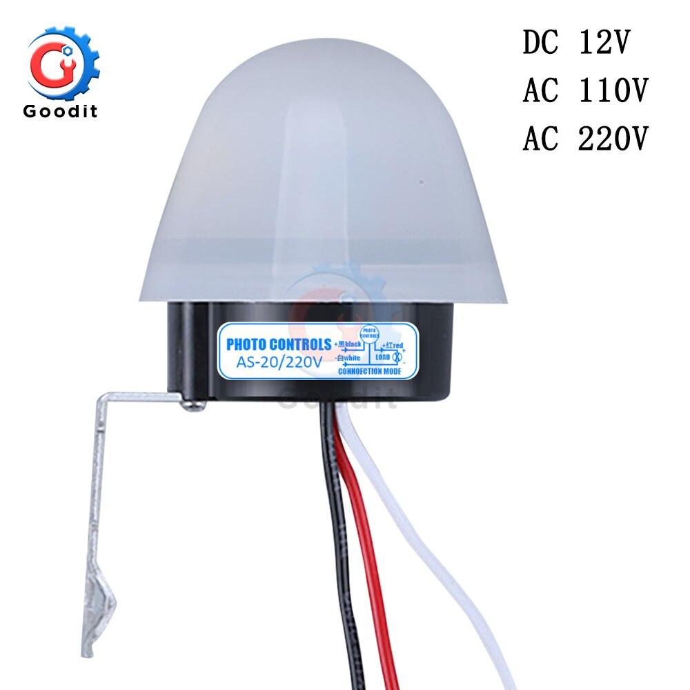 AS-20 DC 12V AC 110V 220V 10A водонепроницаемый чувствительный автоматический Фото переключатель вкл./выкл. Фотоэлемент переключатель уличного света с...