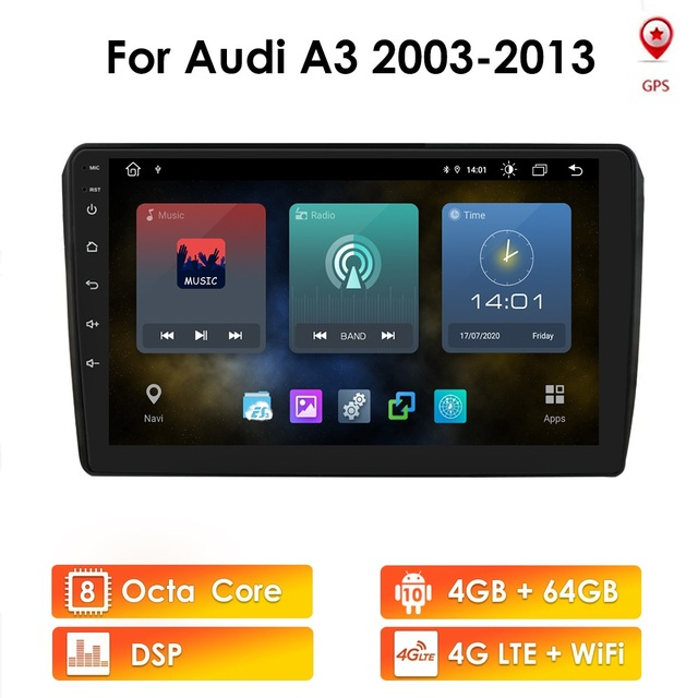 IPS DSP 4GB 2din Android 10 Auto Radio DVD Player Für Audi A3 8P S3 2003 2012 RS3 Sportback Multimedia Navigation stereo steuergerät
