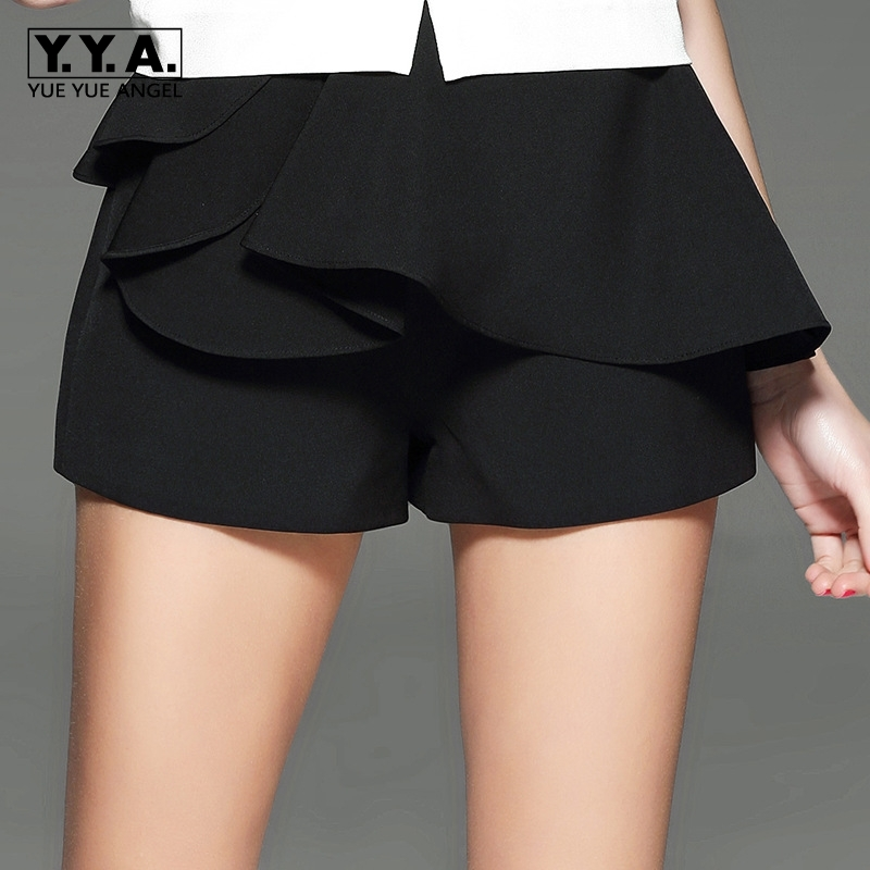 2020 Summer New Womens Shorts Fashion Korean OL Ruffles Womens High Waist Wide Leg Shorts Loose Fit Flare Bermudas Feminina