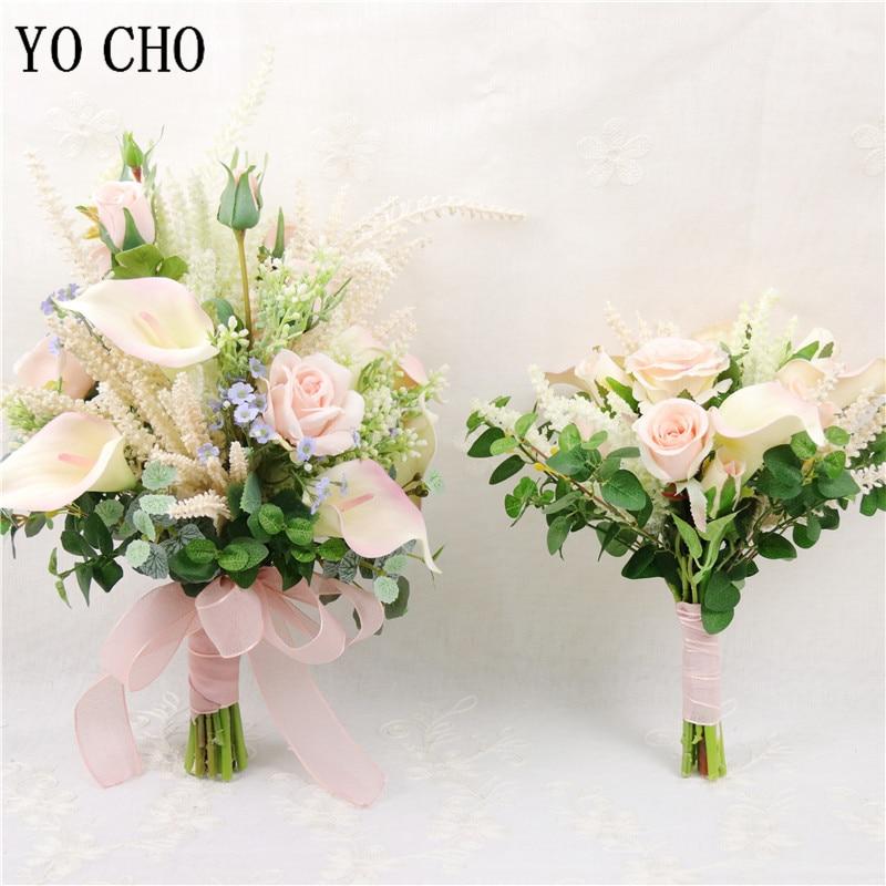 YO CHO Pink Rose Calla Lily Flower Bouquet Handmade Bride Wedding Bouquet Flower Home Party Decor Newest Design Wedding Supplies