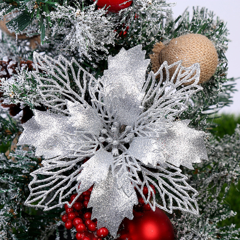 5pcs Artificial Glitter Christmas Flowers Golden Powder Fake Flowers Christmas Decorations For Home Xmas Tree Ornaments Navidad