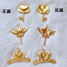 5 шт золотые подвески в форме сердца и звезд
