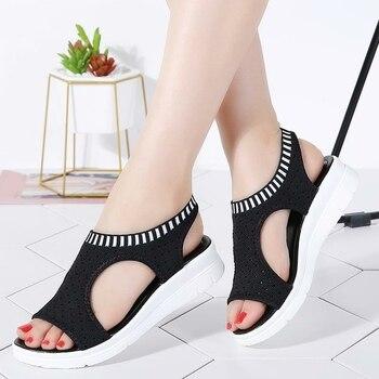 2019 New Women Wedge Sandals Casual Slip on Comfortable Flat Summer Sandals Peep Toe Breathable Mesh Platform Sandals Ladies 1