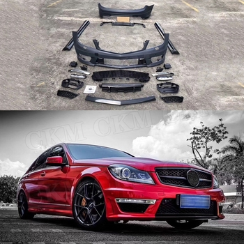 PP Unpainted Body Kits Front Bumper Grill Mesh Side Skirts Aprons Rear Bumper Lip for Benz C Class W204 AMG Style 2006- 2012