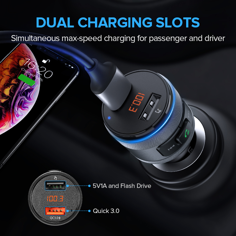 Image 4 - Ugreen USB Car Charger Bluetooth FM Transmitter QC Quick 3.0 Charge Fast Charger for Xiaomi Samsung iPhone Huawei QC3.0 Charger-in Car Chargers from Cellphones & Telecommunications