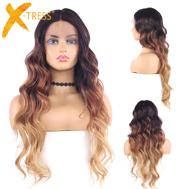 Long Wave Synthetic Lace Front Wigs For Women 4/30/27 Ombre Brown Color Middle Part 22inch High Heat Resistant Hair Wig X-TRESS
