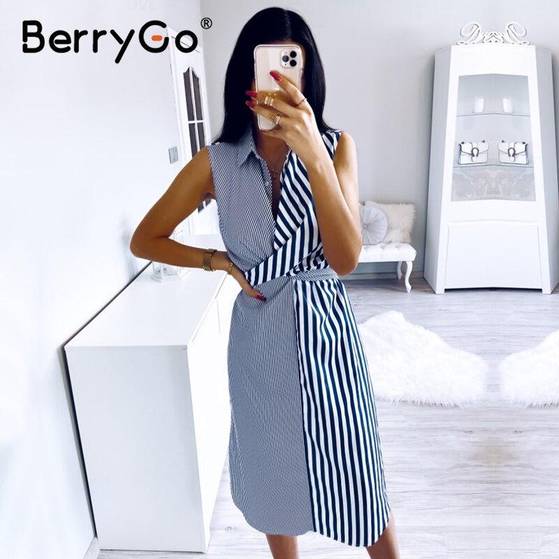 BerryGo Sleeveless Striped Women Summer Dress Casual Collar Shirt Dress Office Ladies Holiday Chic Beach Wear Long Dress Female