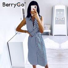 BerryGo kolsuz çizgili kadın yaz elbisesi Casual yaka gömlek elbise ofis bayanlar tatil şık plaj kıyafeti uzun elbise kadın