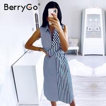 BerryGo بلا أكمام مخطط المرأة فستان صيفي عادية طوق قميص فستان مكتب السيدات عطلة شيك ملابس الشاطئ فستان طويل الإناث